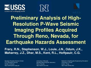 University of Nevada Nevada Seismological Laboratory Reno, Nevada seismo.unr