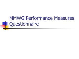MMWG Performance Measures Questionnaire