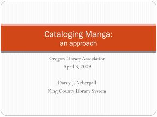Cataloging Manga: an approach