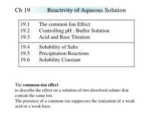 Ch 19Reactivity of Aqueous Solution