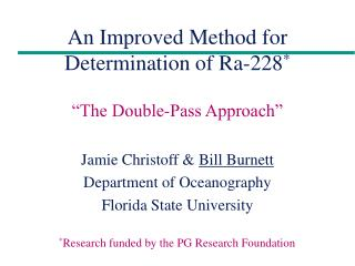 An Improved Method for Determination of Ra-228 *