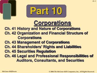 Corporations Ch. 41 History and Nature of Corporations
