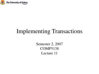 Implementing Transactions