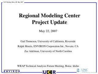 Regional Modeling Center  Project Update