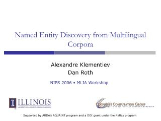 Named Entity Discovery from Multilingual Corpora