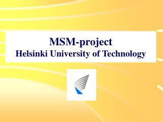 MSM-project Helsinki University of Technology