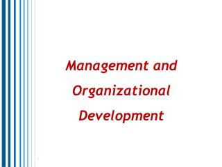 Management and Organizational Development