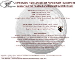Where:  Mansfield National Golf Course  Date :  Saturday May 3, 2014  Time:  8:00 am Shotgun Start