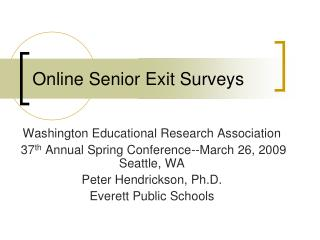 Online Senior Exit Surveys