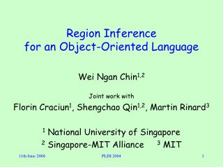 Region Inference  for an Object-Oriented Language