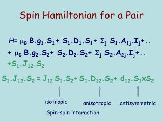 Spin Hamiltonian for a Pair