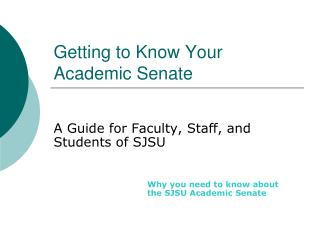 Getting to Know Your Academic Senate