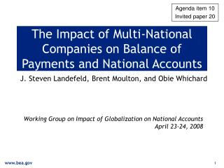 The Impact of Multi-National Companies on Balance of Payments and National Accounts