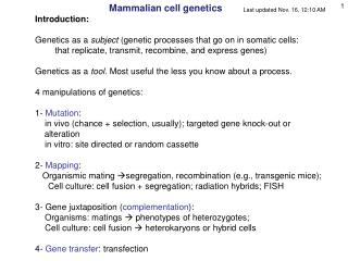 Mammalian cell genetics Introduction: