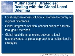 Multinational Strategies: Dealing with the Global-Local Dilemma