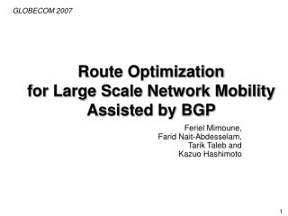 Route Optimization  for Large Scale Network Mobility  Assisted by BGP