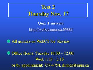 Test 2  Thursday Nov. 17