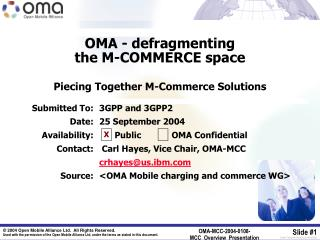 OMA - defragmenting  the M-COMMERCE space Piecing Together M-Commerce Solutions