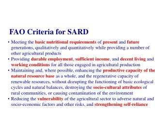 FAO Criteria for S ARD