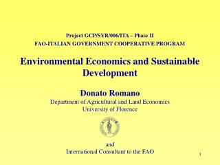 Project GCP/SYR/006/ITA – Phase II FAO-ITALIAN GOVERNMENT COOPERATIVE PROGRAM