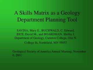 A Skills Matrix as a Geology Department Planning Tool