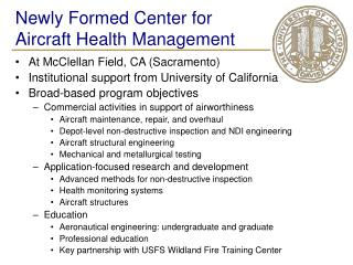 Newly Formed Center for Aircraft Health Management
