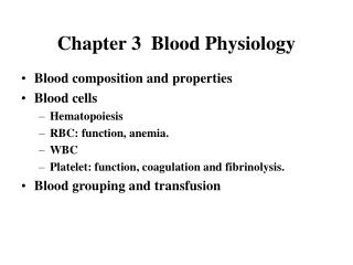 Chapter 3  Blood Physiology