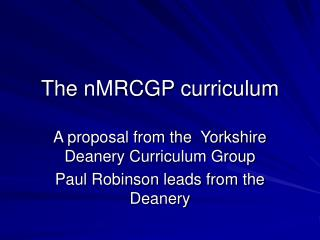 The nMRCGP curriculum