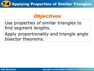 Use properties of similar triangles to find segment lengths.