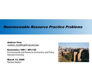 Nonrenewable Resource Practice Problems