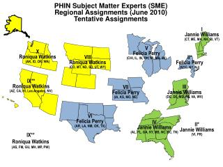 PHIN Subject Matter Experts (SME) Regional Assignments (June 2010) Tentative Assignments