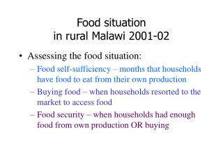 Food situation in rural Malawi 2001-02