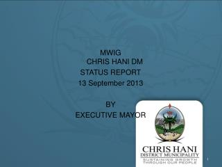 MWIG  CHRIS HANI DM STATUS REPORT 13 September 2013 BY EXECUTIVE MAYOR