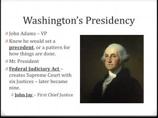 Washington's Presidency
