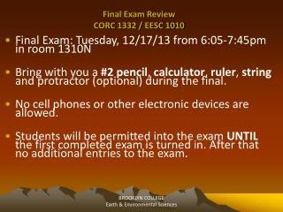 Final Exam Review CORC 1332 / EESC 1010