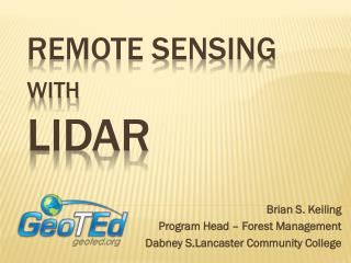 Remote sensing  with LIDAR