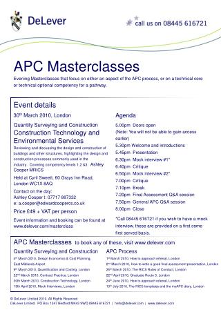 Evening Masterclasses that focus on either an aspect of the APC process, or on a technical core or technical optional co