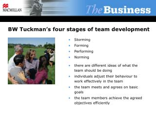 BW Tuckman's four stages of team development