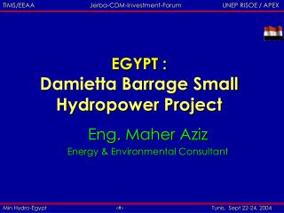 EGYPT : Damietta Barrage Small Hydropower Project