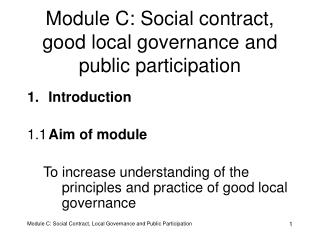 Module C: Social contract, good local governance and public participation