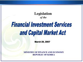 Financial Investment Services   and Capital Market Act
