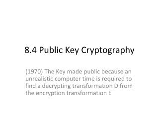 8.4 Public Key Cryptography