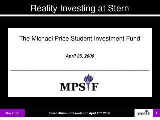 Michael price student investment fund deka investmentfonds kontakt player
