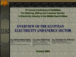 OVERVIEW OF THE EGYPTIAN    ELECTRICITY AND ENERGY SECTOR