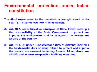 Environmental protection under Indian constitution