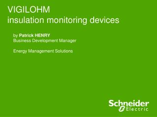 VIGILOHM insulation monitoring devices