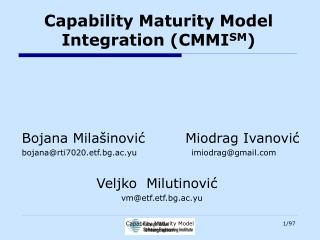 Capability Maturity Model Integration (CMMI SM )