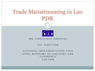 Trade Mainstreaming in Lao PDR