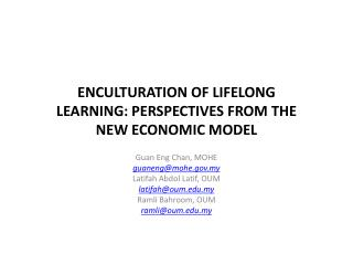 ENCULTURATION OF LIFELONG LEARNING: PERSPECTIVES FROM THE NEW ECONOMIC MODEL
