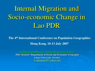 Internal Migration and Socio-economic Change in Lao PDR